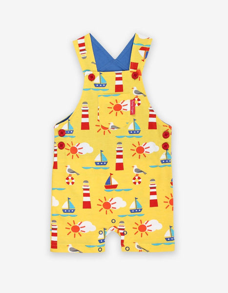 Organic Seaside Print Dungaree Shorts