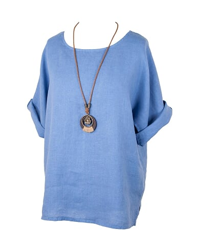 Plain Linen Tunic & Necklace