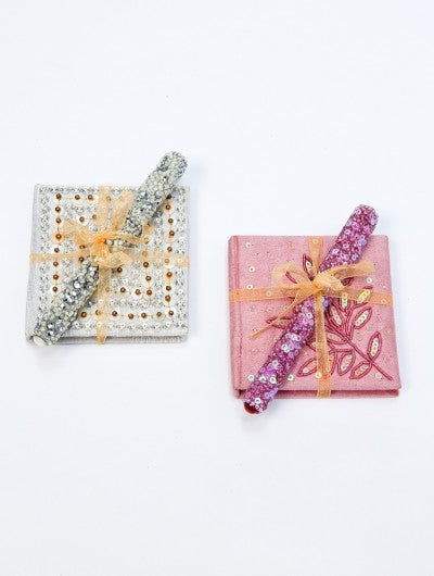 Pastel Embroidered Notebook & Pen Set
