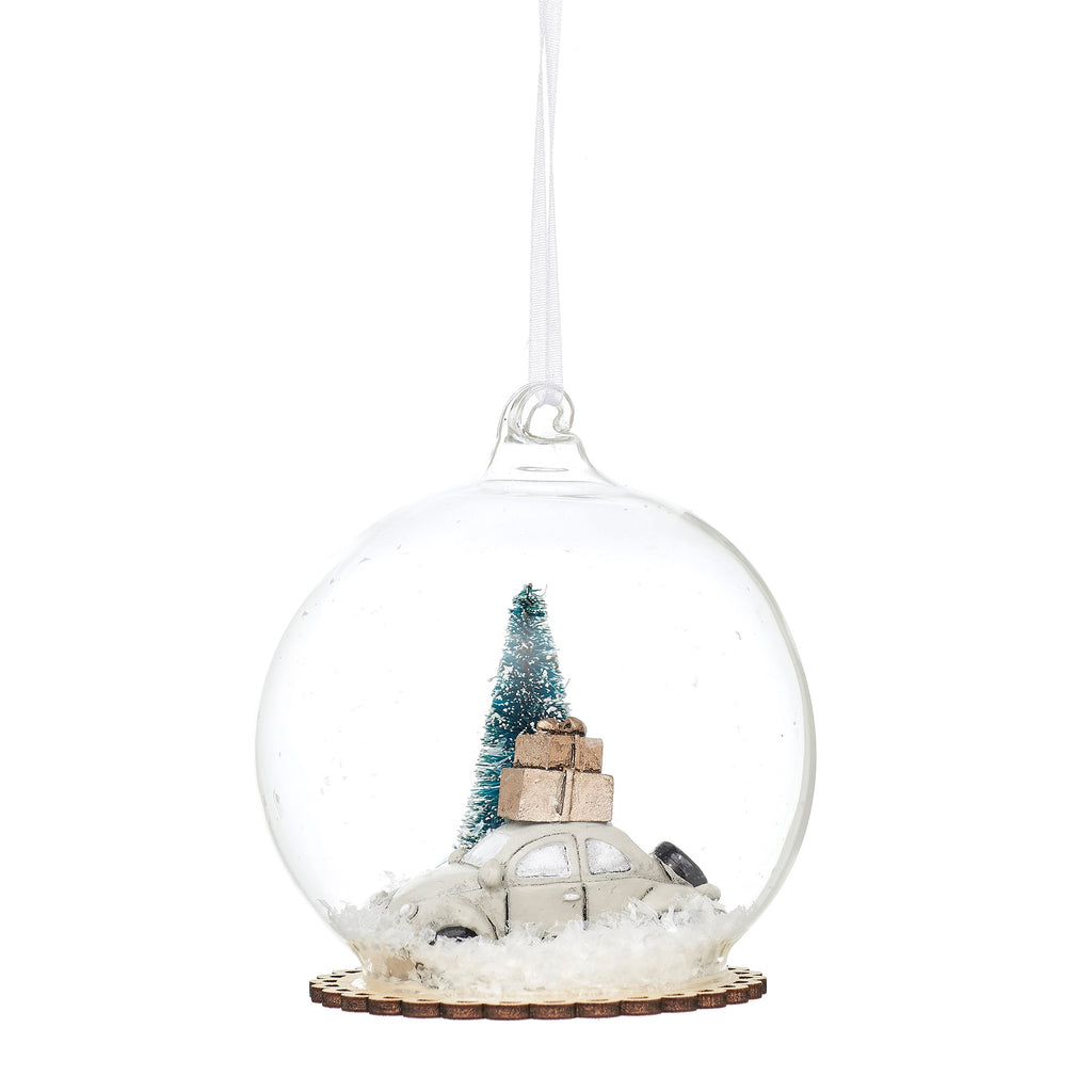 SNOWY WHITE CAR DOME BAUBLE