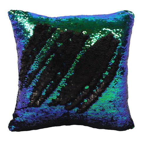 Reversible Sequin Cushion Black/Green