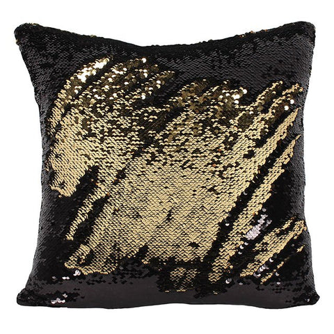 Reversible Sequin Cushion Black/Gold