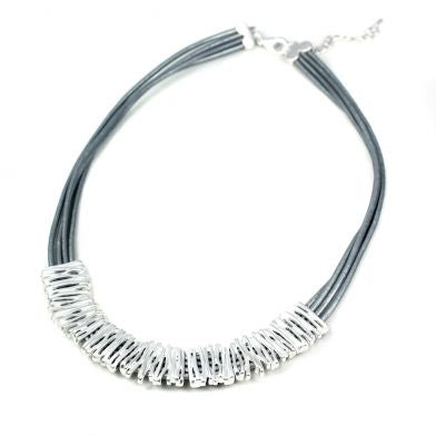Matt Silver Lines Leather Necklace