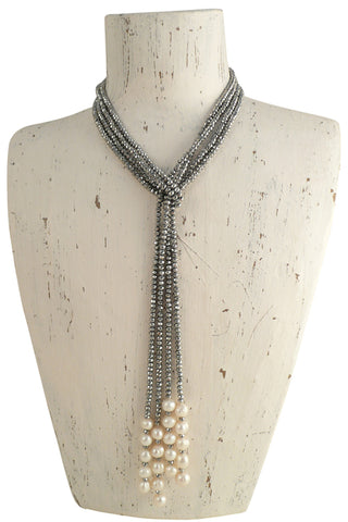Silver Pearl Long Crystal Necklace