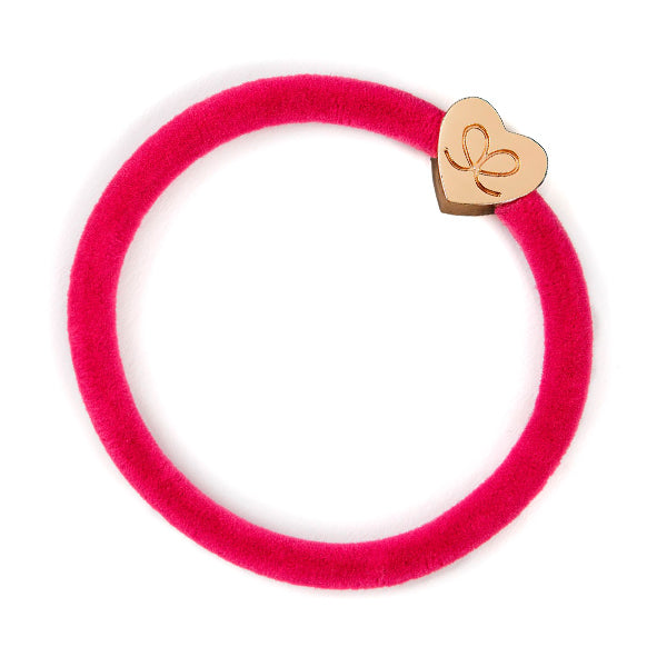 Velvet Bangle Band - Fuchsia with gold heart