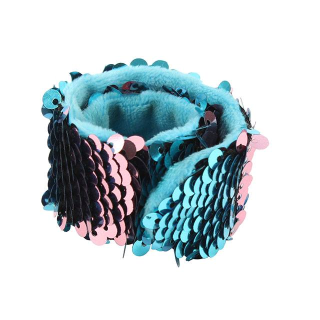 BLUE AND PINK REVERSIBLE SEQUIN SNAP BAND