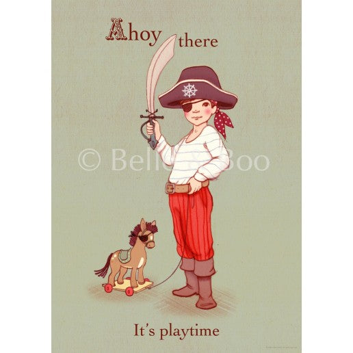 ahoy there it's playtime - pirate illustration poster