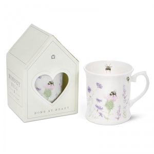 Bee & Flower White China Mug