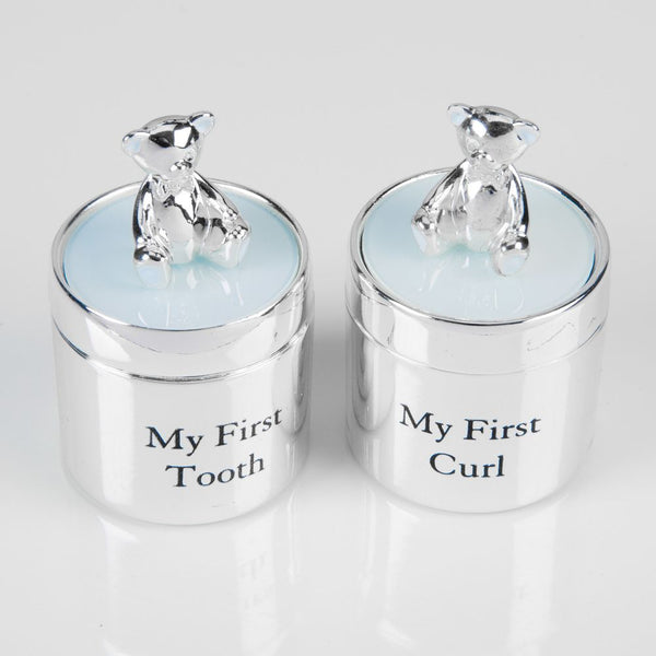 Bambino Silver Plated First Tooth & Curl Box Set - Blue