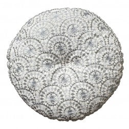 Casablanca Embroided Cushion Silver