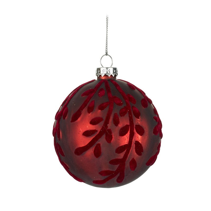 Red Bauble With Leaf Design