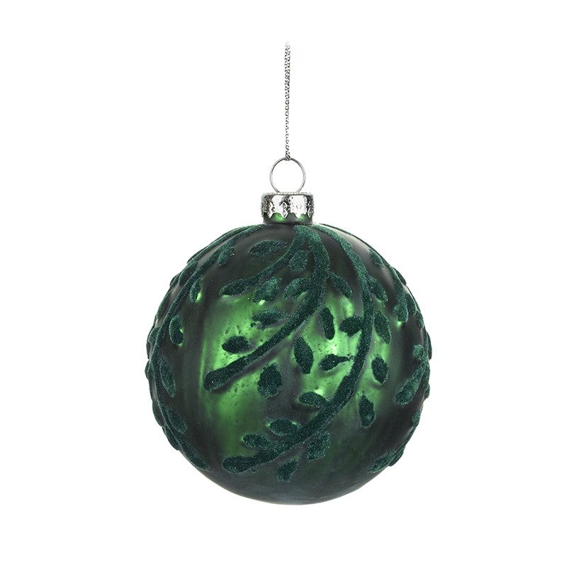 Dark Green Decorated Bauble