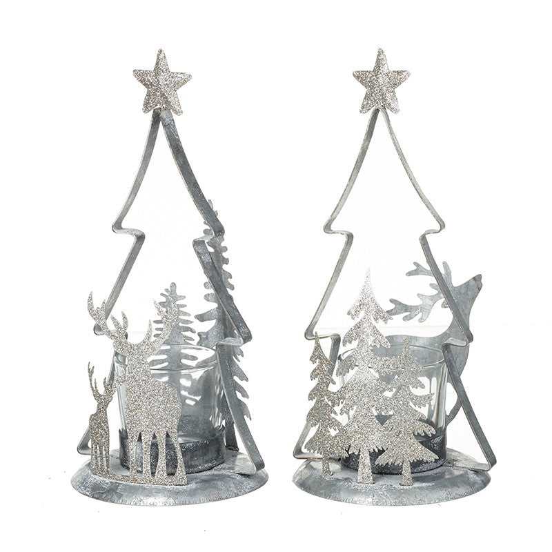 Silver & Glitter Tree T-Light Holders SOLD INDIVIDUALLY