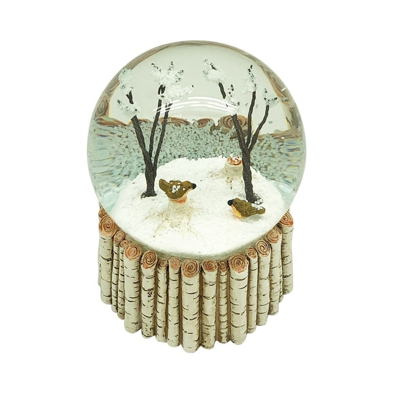 Birds In Trees Snowglobe With Birch Base