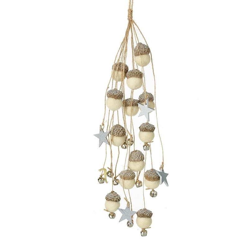Wooden Acorn & Star Hanging Decoration