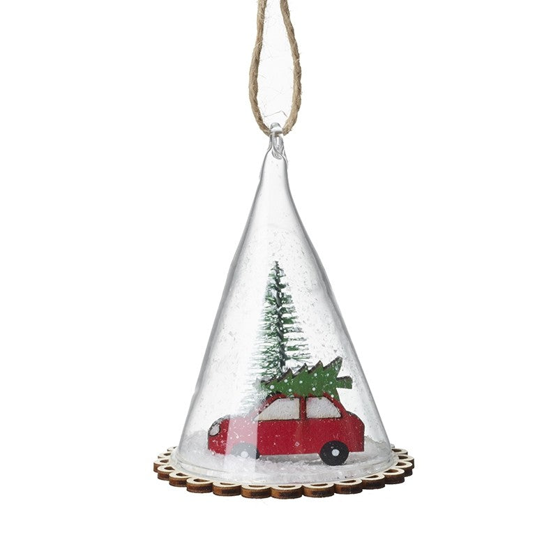 Hanging Glass Cone With Car & Tree