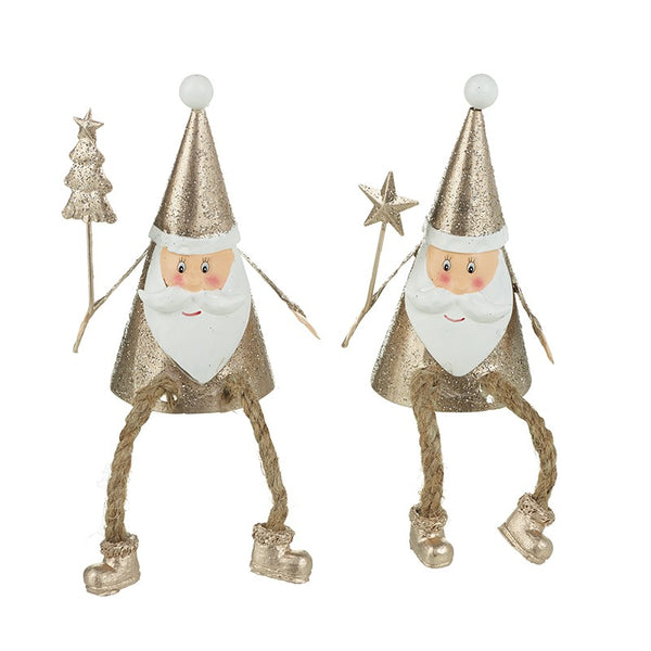 Metal Sitting Santas With Dangly Leg - SOLD INDIVIDUALLY