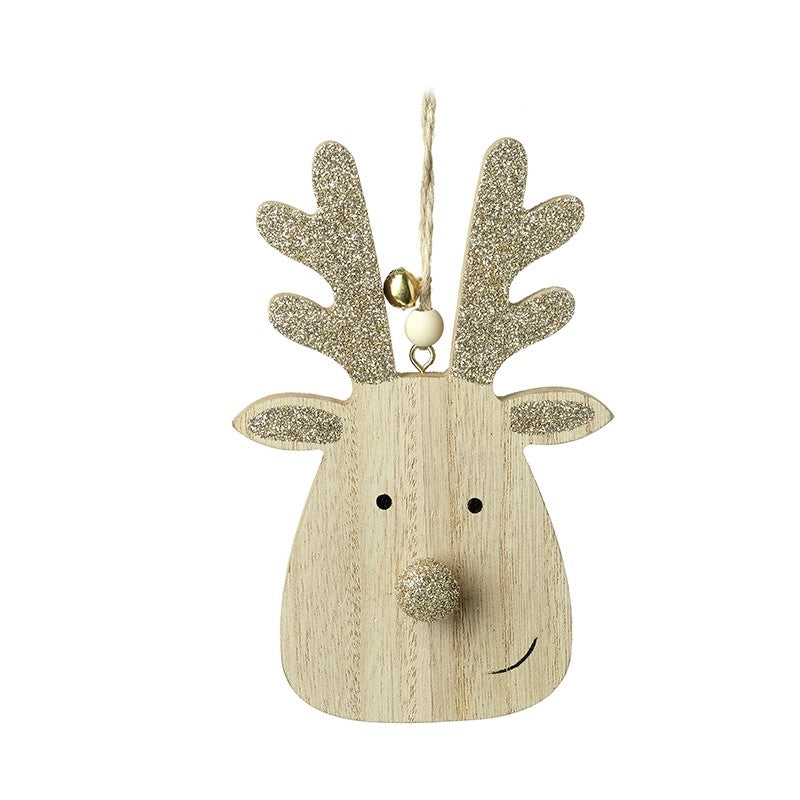 Wood And Glitter Reindeer Tree Decor