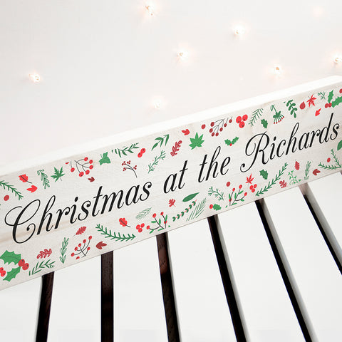 PERSONALISED HOLLY FESTIVE CHRISTMAS MANTLE DECORATION