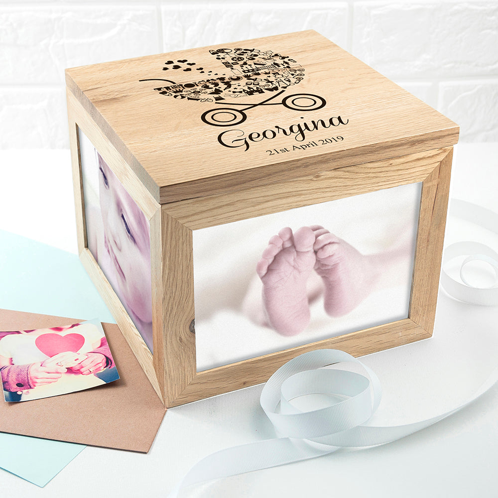 PERSONALISED BABY GIRL PHOTO MEMORY BOX