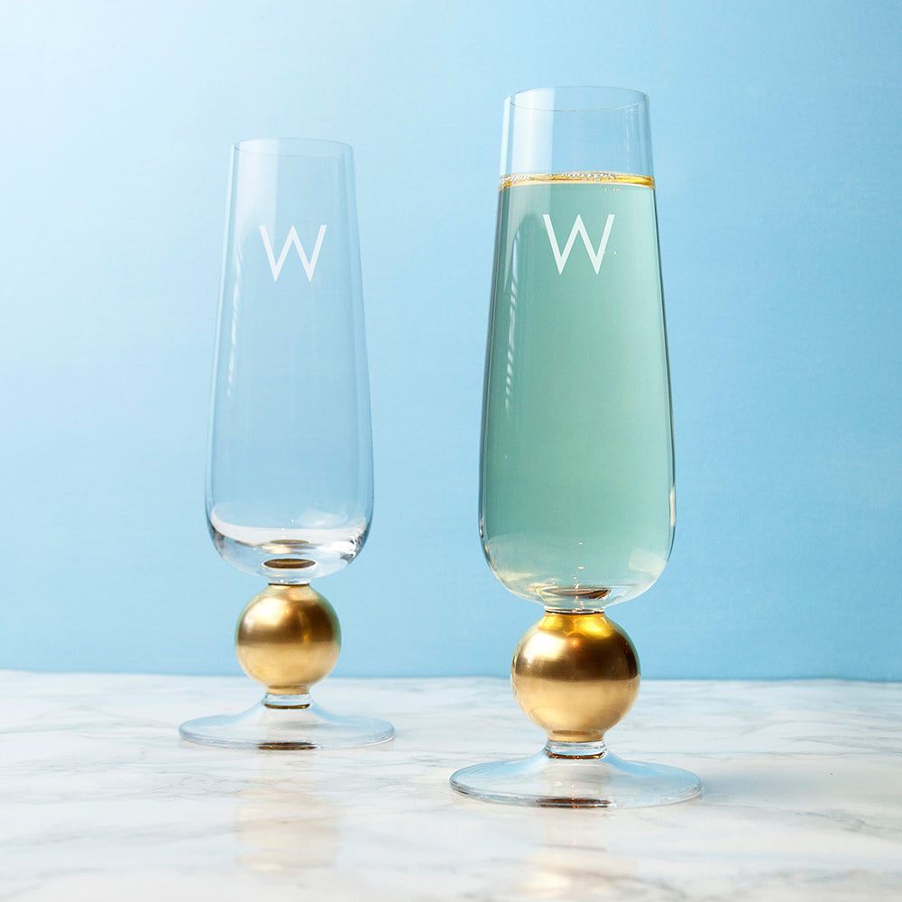 Personalised LSA Set Of Two Gold Champagne Glasses