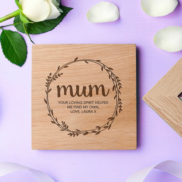 PERSONALISED WREATH MOTHER'S DAY OAK PHOTO CUBE