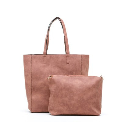 Sax Pink Handbag in faux suede