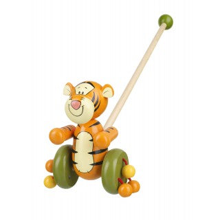 wooden push along Tigger for toddlers with green wheels