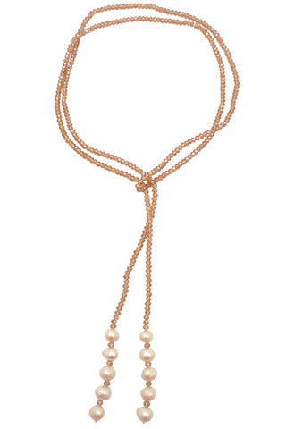 Smoke Pink Crystal Pearl Long Lariat Necklace