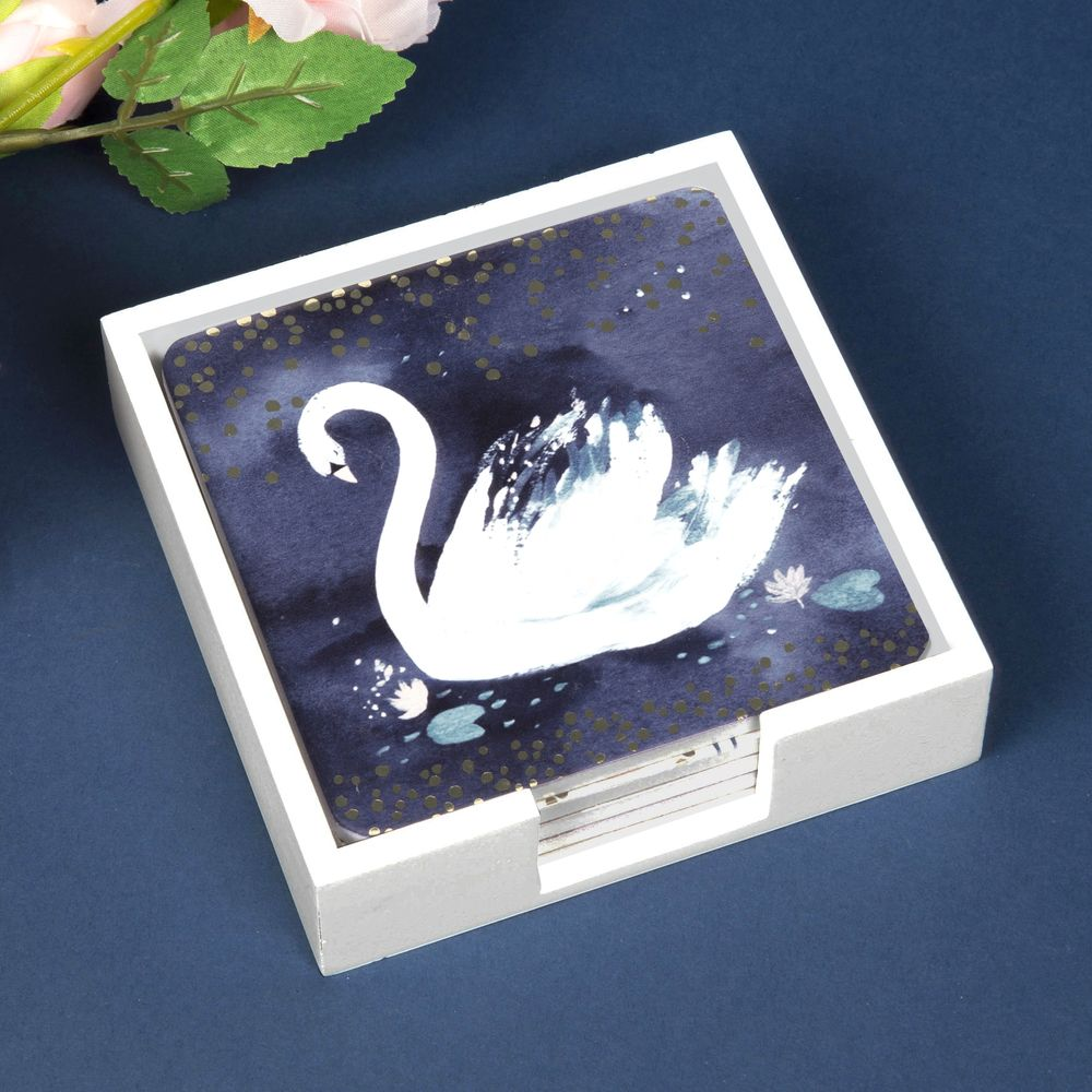 SWAN LAKE SET OF 4 COASTERS AND HOLDER