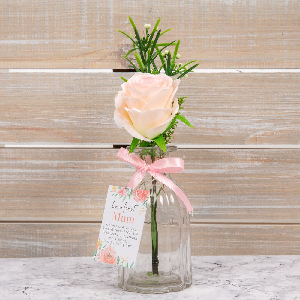 Sophia Artificial Pink Rose in Glass Vase - Loveliest Mum