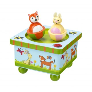 Brightly coloured wooden music box with fox and rabbit