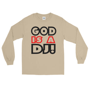 Go Is A Dj Long Sleeve Men Sand by Raverabbit
