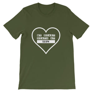 My Heart Beats At 150 BPM T-shirt Men Olive by Raverabbit