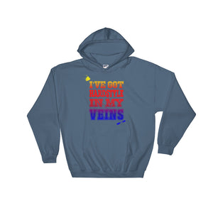 I've Got Hardstyle In My Veins Hoodie Men Women Indigo Blue by Raverabbit