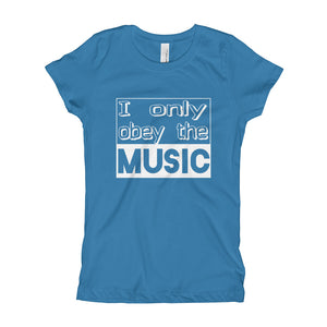 I Only Obey The Music T-Shirt Girls Turquoise by Raverabbit