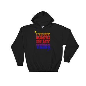 I've Got Hardstyle In My Veins Hoodie Men Women Black by Raverabbit