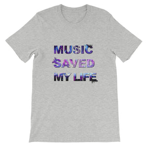Music Saved My Life T-Shirt Men athletic heather by Raverabbit