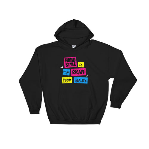 Hardstyle Is My Escape From Reality Hoodie Men Women Black by Raverabbit