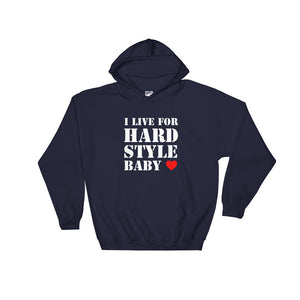 I Live For Hardstyle Baby Hoodie Men Women Navy by Raverabbit