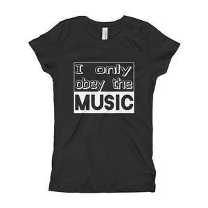 I Only Obey The Music T-Shirt Girls Black by Raverabbit