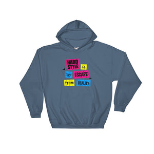 Hardstyle Is My Escape From Reality Hoodie Men  Women Indigo Blue by Raverabbit
