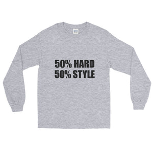 50% HARD 50% STYLE Long Sleeve T-Shirt Sport Grey by Raverabbit