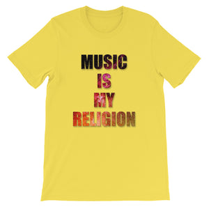 Music Is My Religion T-Shirt Men yellow by Raverabbit