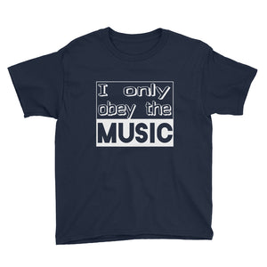 I Only Obey The Music T-Shirt Boys Navy by Raverabbit