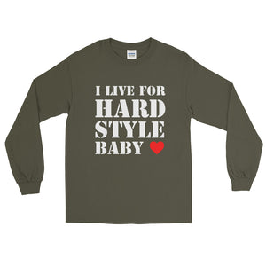 I Live For Hardstyle Baby Long Sleeve Men Women Military Green by Raverabbit
