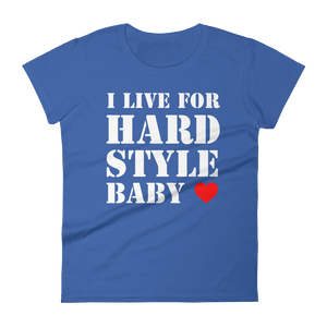 I Live For Hardstyle Baby T-Shirt Women Royal Blue by Raverabbit