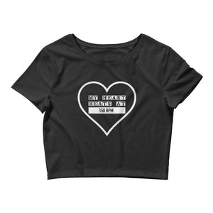 My Heart Beats At 150 BPM Crop Tee Women Black by Raverabbit