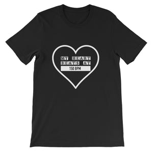 My Heart Beats At 150 BPM T-shirt Men Black by Raverabbit