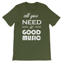 All You Need Is Good Music T-shirt Men Olive  by Raverabbit